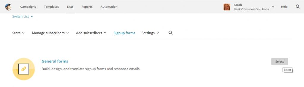 Mailchimp forms image
