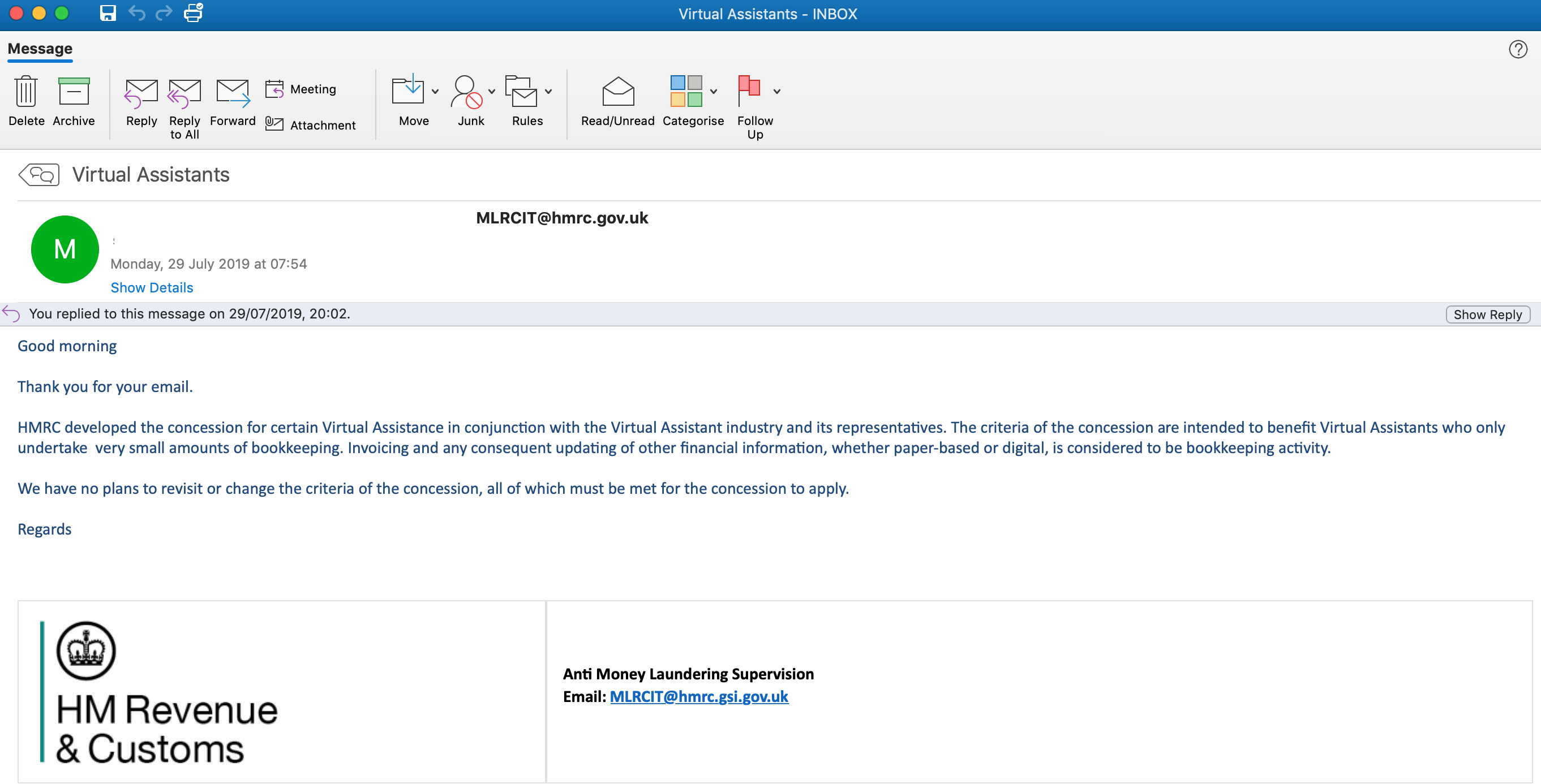 Screen shot of email from HMRC stating that they will not reconsider their position on the AML concession and that VAs must meet all criteria.
