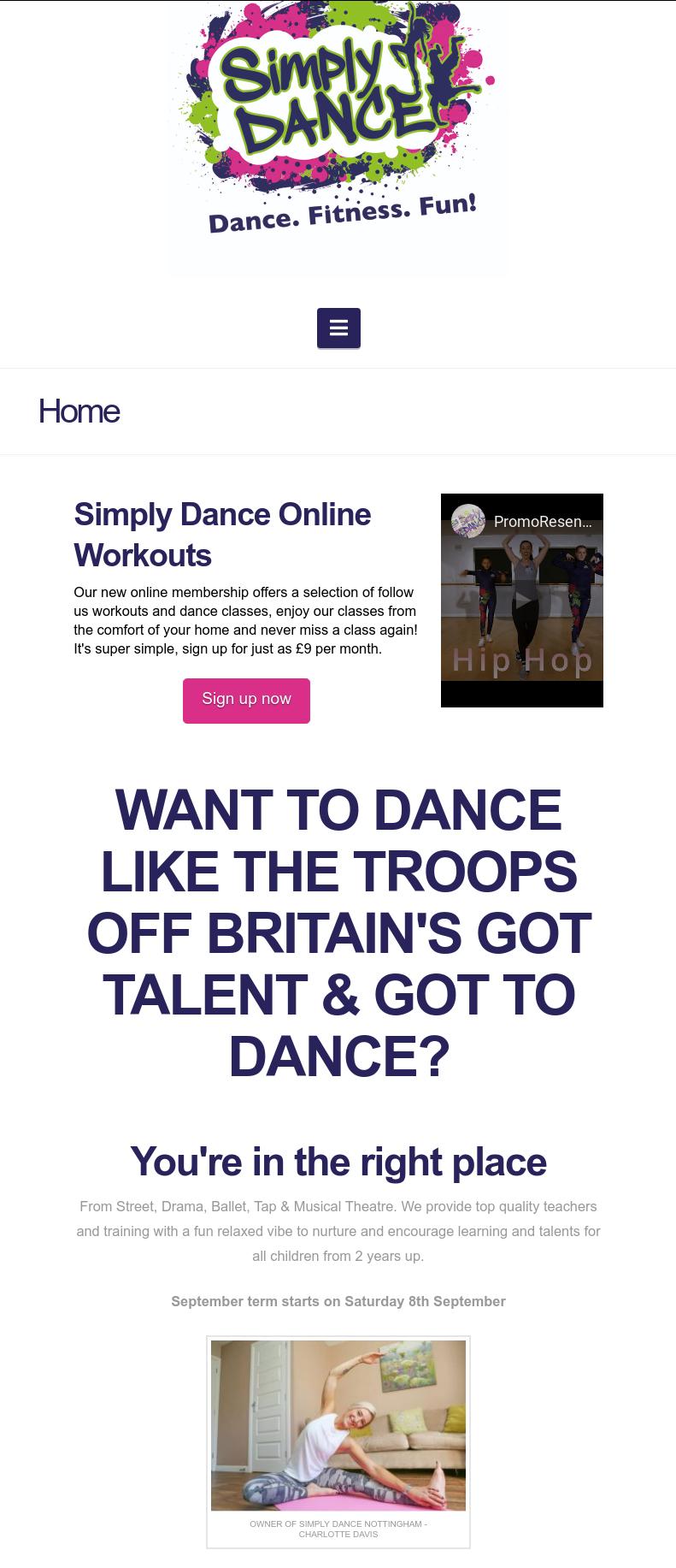 Screen shot of the front page of the Simply Dance Nottingham website