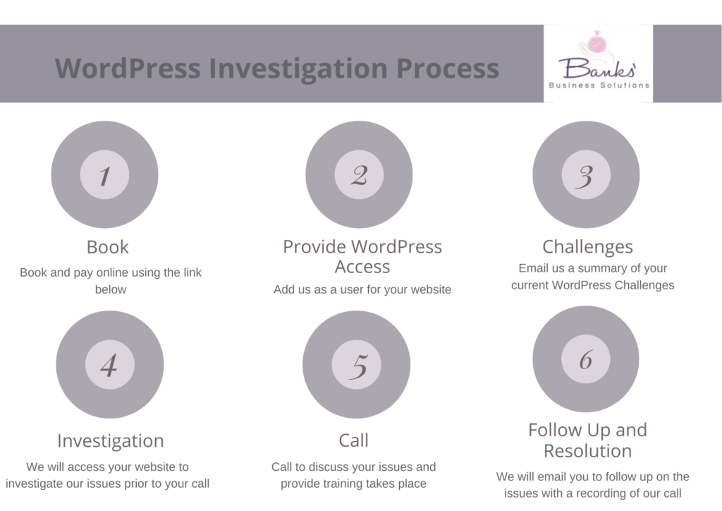 Image outlining the 6 step process for our WordPress Investigation Service