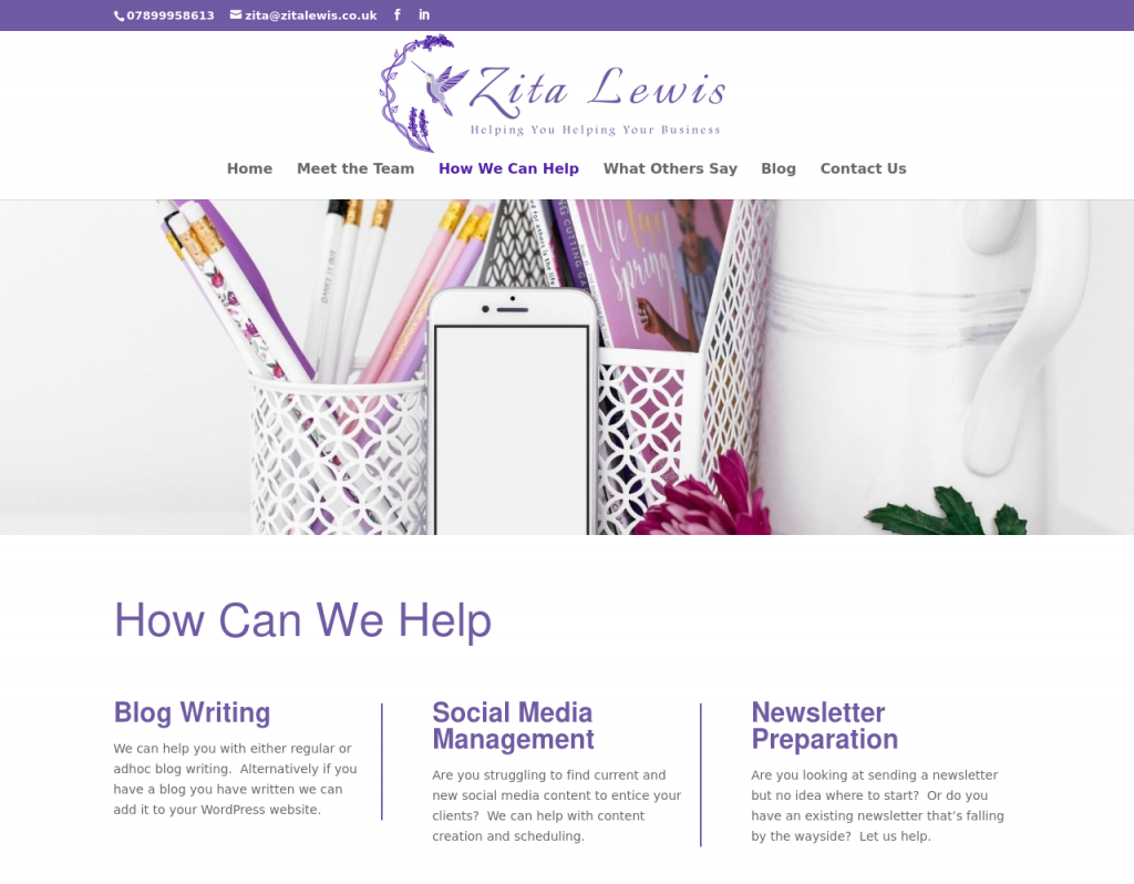 Image of how we can help page from Zita Lewis website