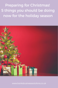Picture of christmas tree with presents underneath on a red background